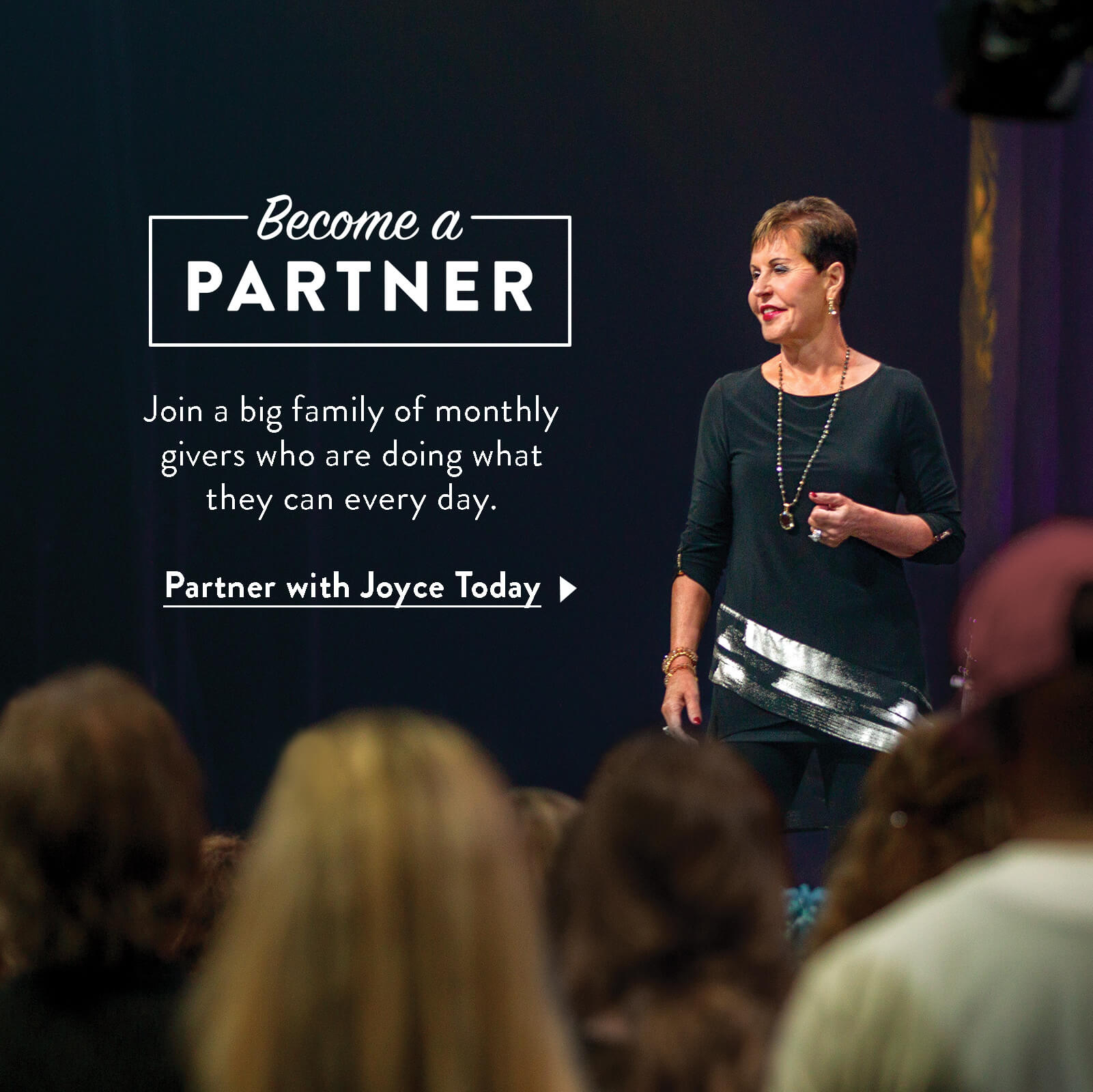 Joyce speaking in Atlanta with text asking you to become a partner