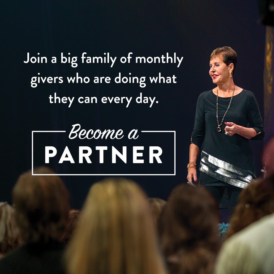 Joyce with text asking you to become a partner