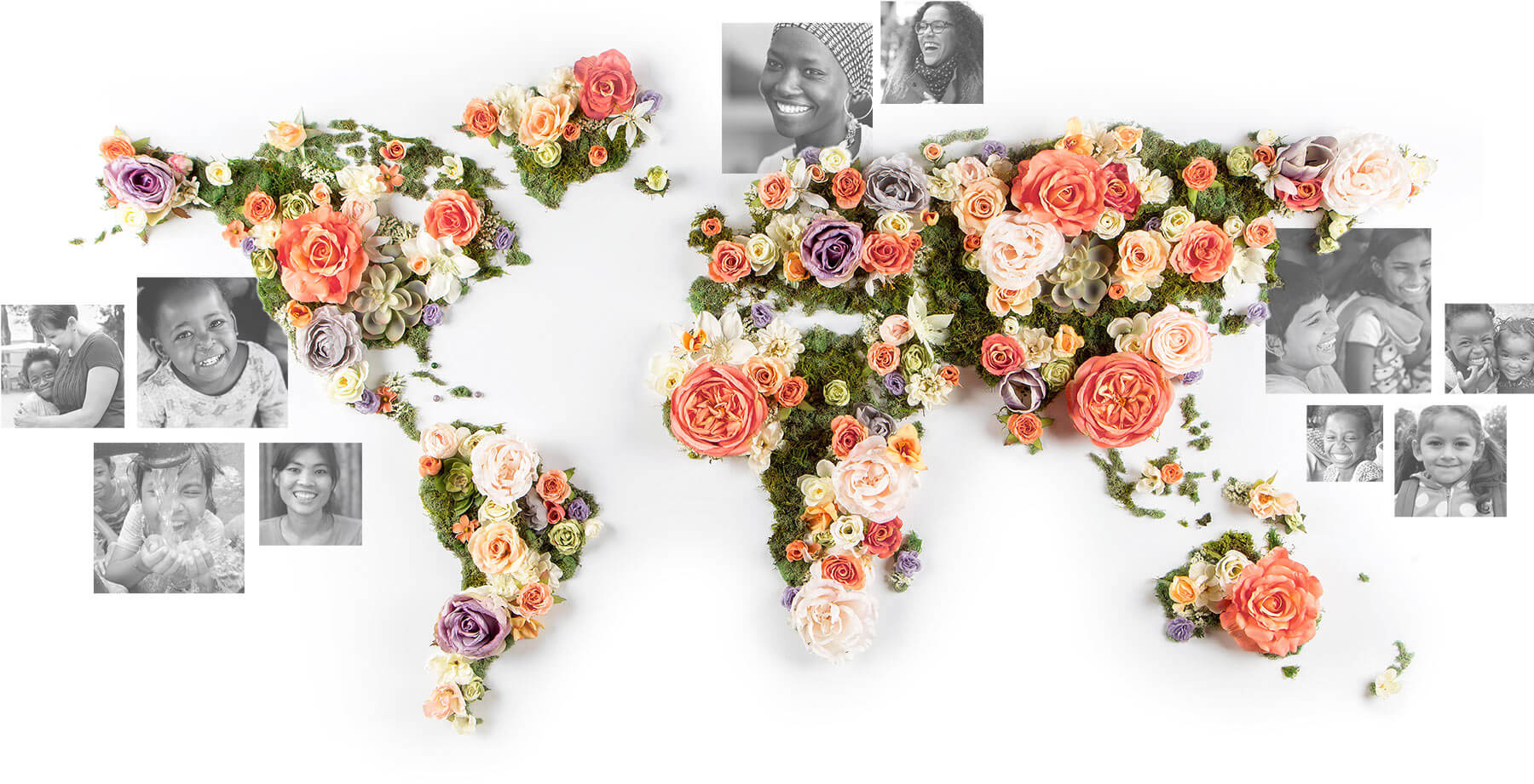 World map made of flowers featuring women from around the world